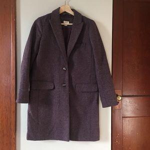 J Crew Violet and Grey Wool Top Coat